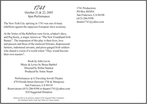 Workshop Production of a New Musical - 1741 Production