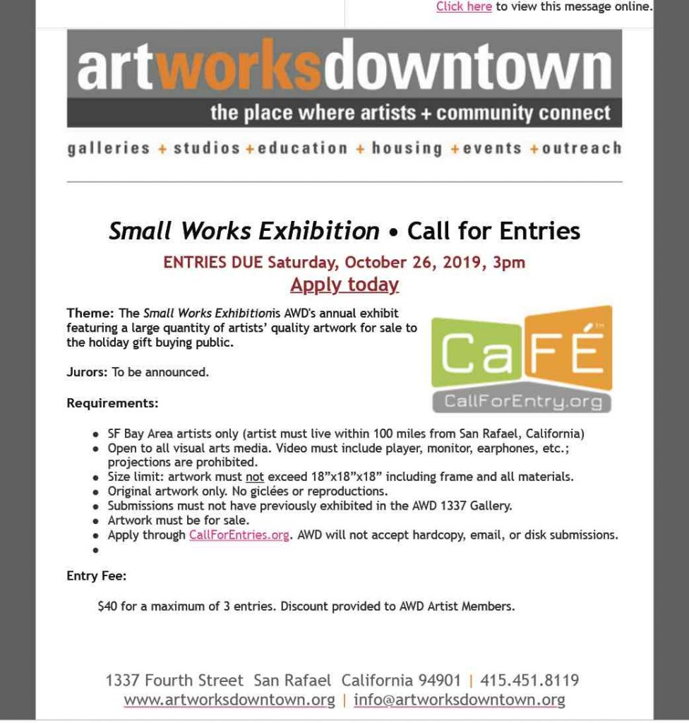 Art Works Downtown icontact Call for Entries Art Exhibition Emailer