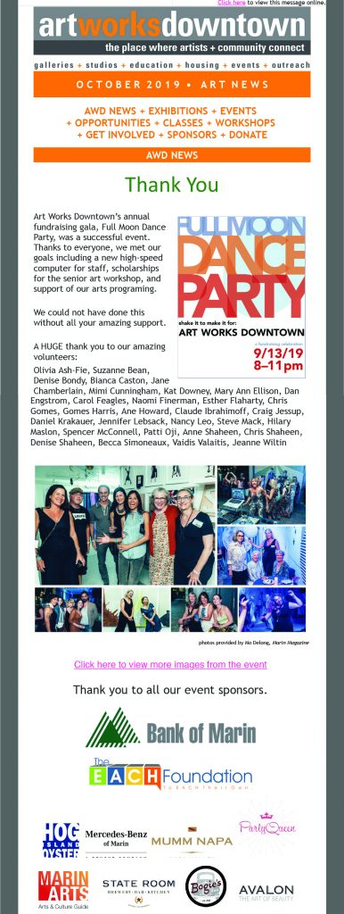 Art Works Downtown icontact Monthly Emailer