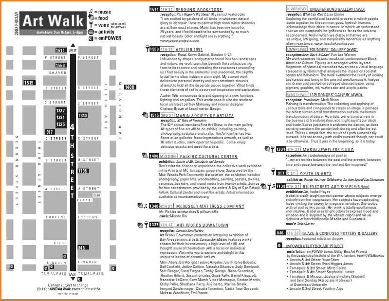 Art Walk Map Printed Brochure Graphic Design San Rafael