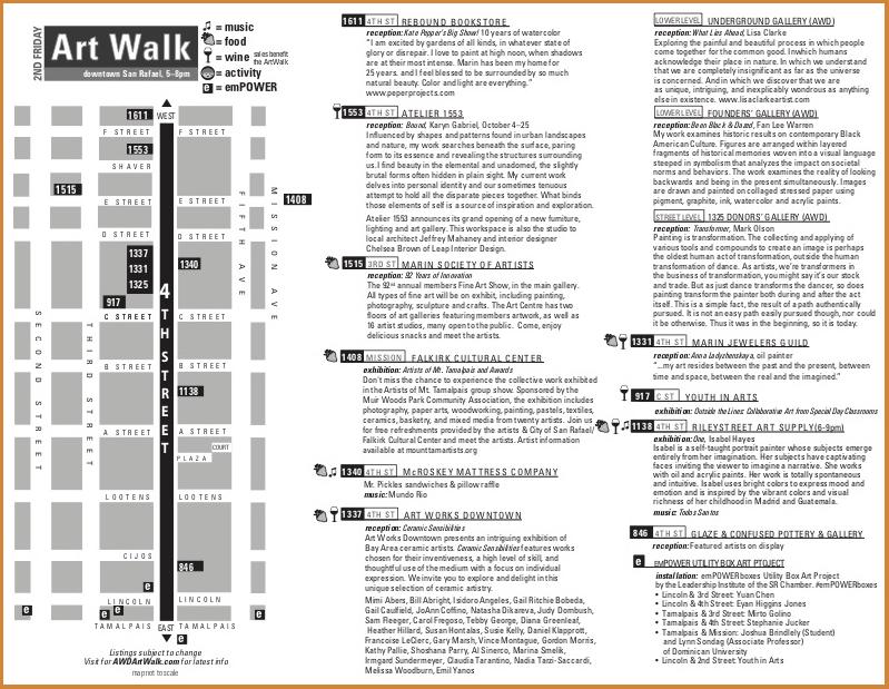 Art Walk Map Printed Brochure Graphic Design San Rafael