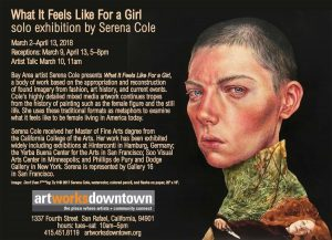 Art Works Downtown art exhibition ecard email campaign for solo exhibition What It Feels Like for a Girl by Serena Cole