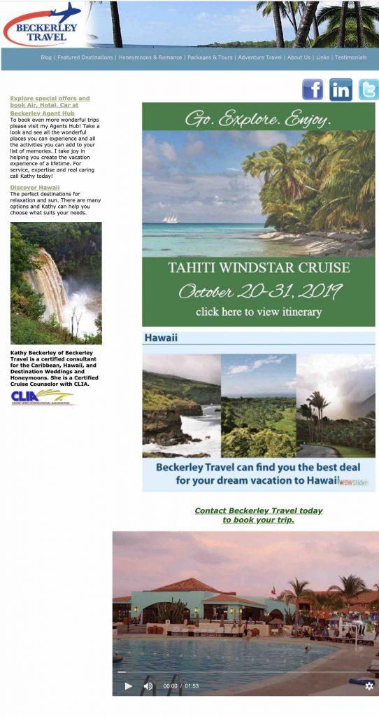 Beckerley Travel website Homepage