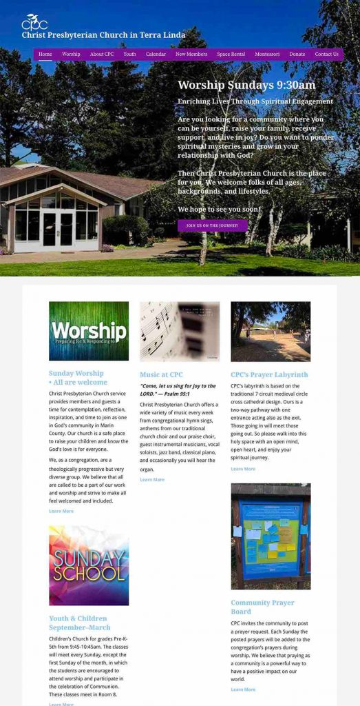 Christ Presbyterian Church in Terra Linda WordPress Website