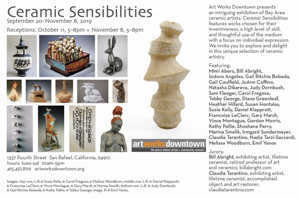 Art Works Downtown art exhibition ecard email campaign for Ceramic Sensibilities