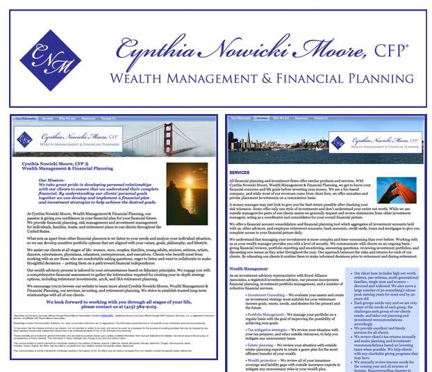 Cynthia Nowicki Moore | Wealth Management & Financial Planing Website