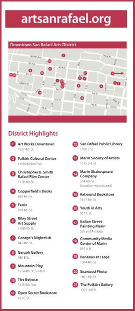 Downtown San Rafael Arts District Rack Card