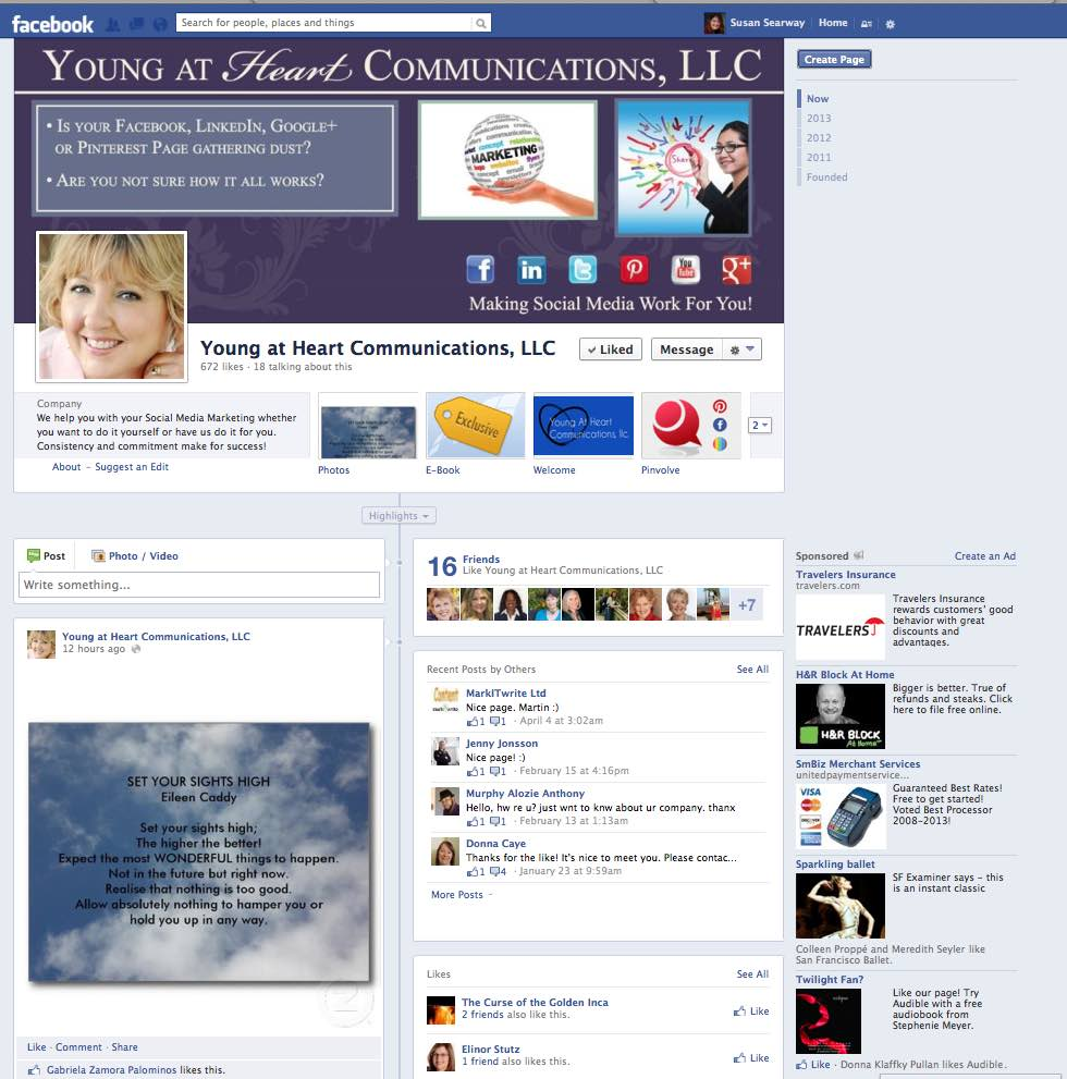 Diane Castro Young at Heart Communications Facebook Business Page