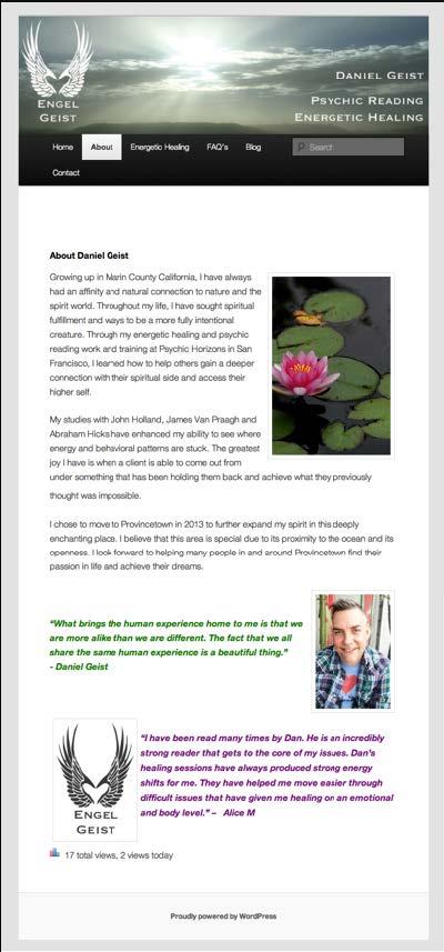 Engel Geist | Psychic Reading Energetic Healing WordPress Website