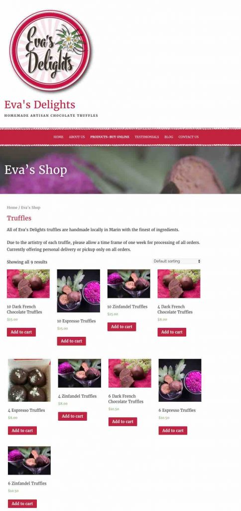 Eva's Delights wordpress website