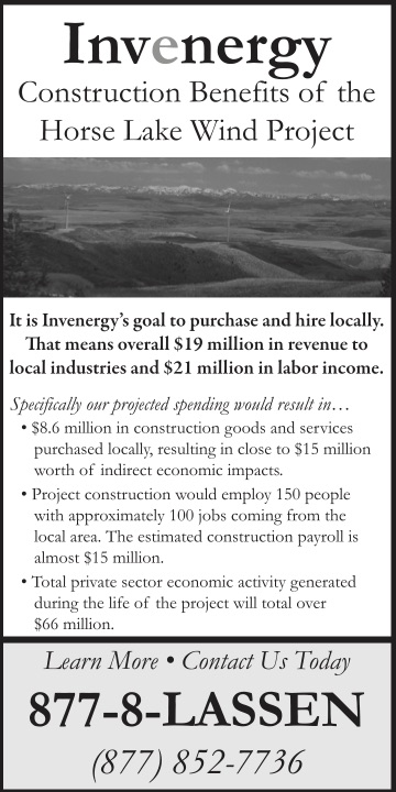 Horse Lake Wind Project Ad print design