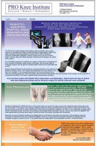 Pro knee Institute Website