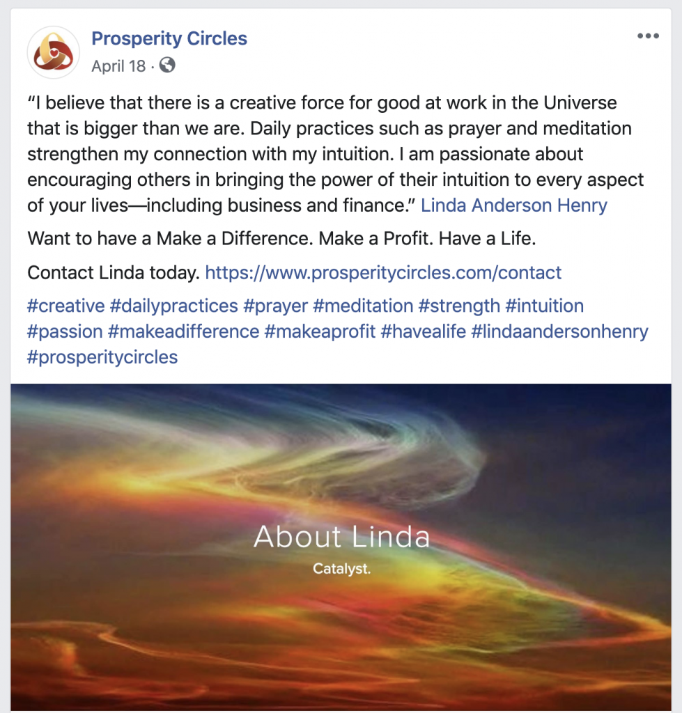 Prosperity Circles Facebook Business Page Marin Social Media Marketing