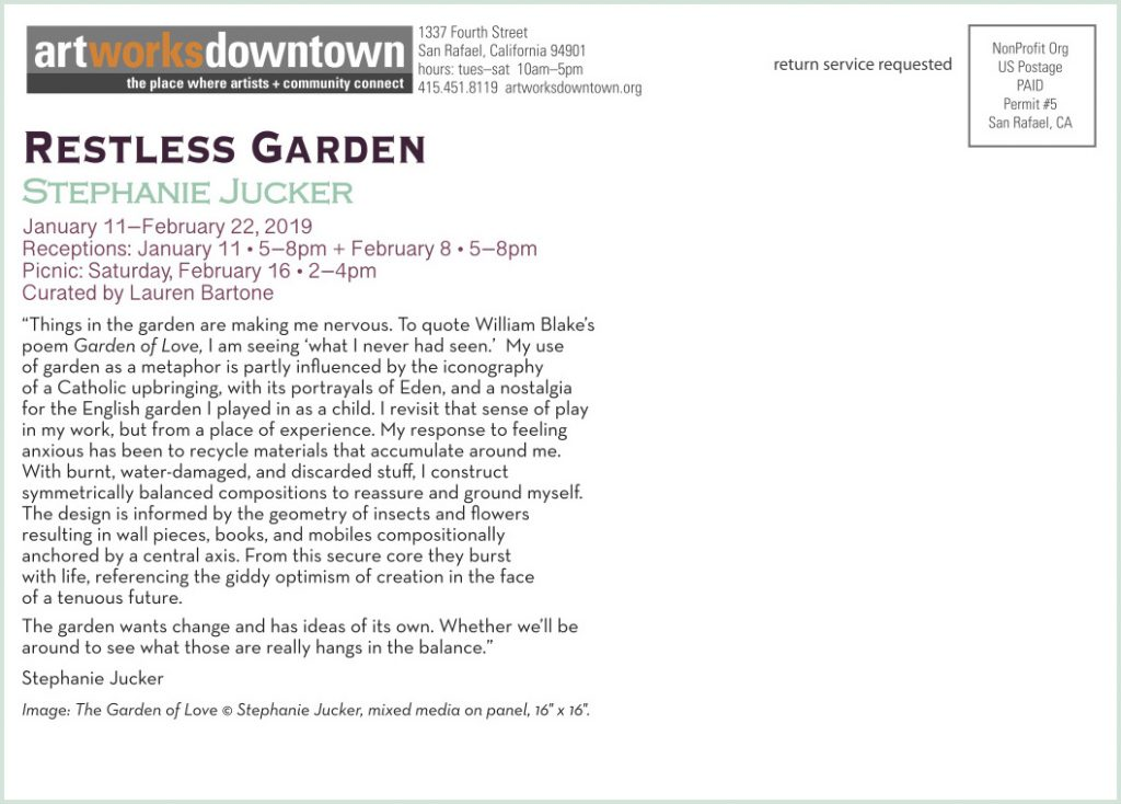 Restless Garden Stephanie Jucker Art Exhibition at the 1337 Gallery Art Works Downtown Postcard