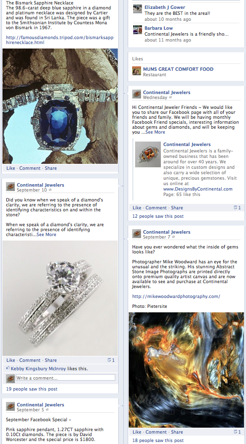 Continental Jewelers Facebook Business Page
