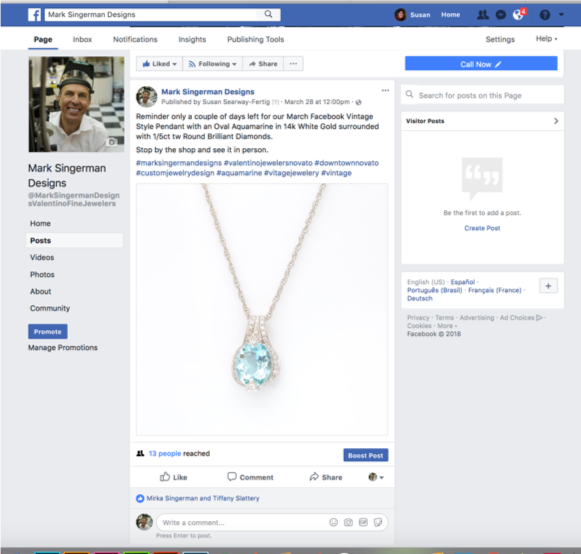 Valentino Fine Jewelers Facebook Post Social Media Posting