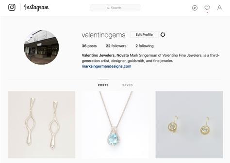 Valentino Fine Jewelers Instagram Page