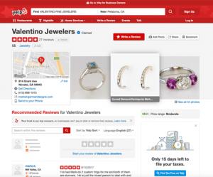 Valentino Fine Jewelers Yelp Page