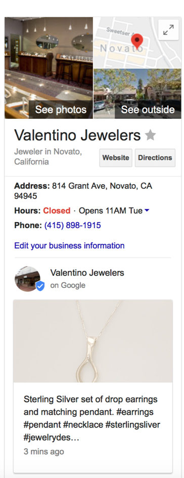 Valentino Fine Jewelers Google Business Social Media Posting