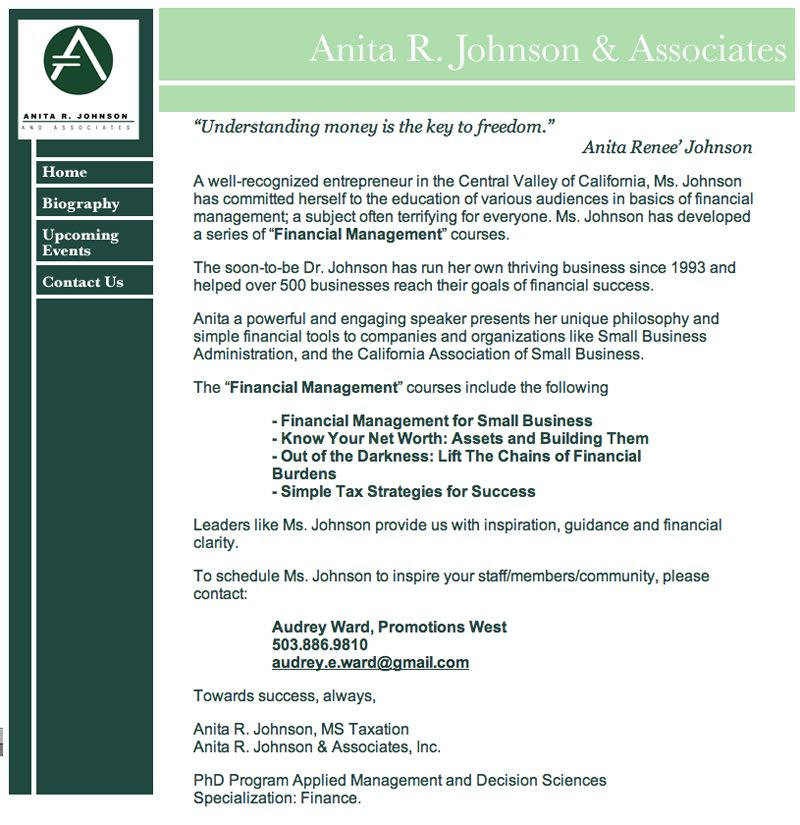 Anita R. Johnson & Associates- Website