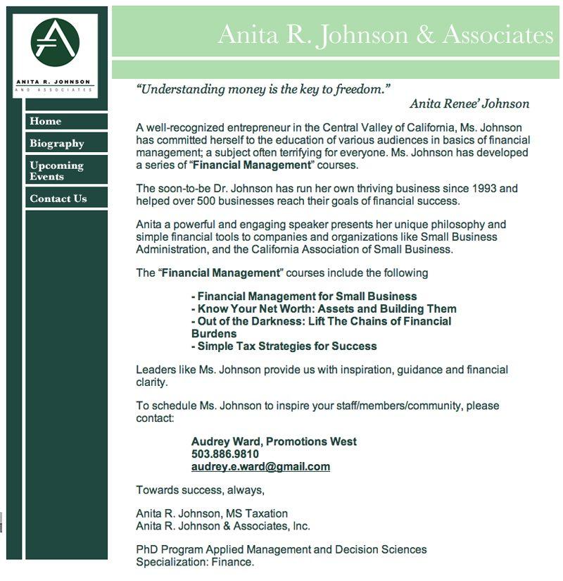 Anita R. Johnson & Associates- Website