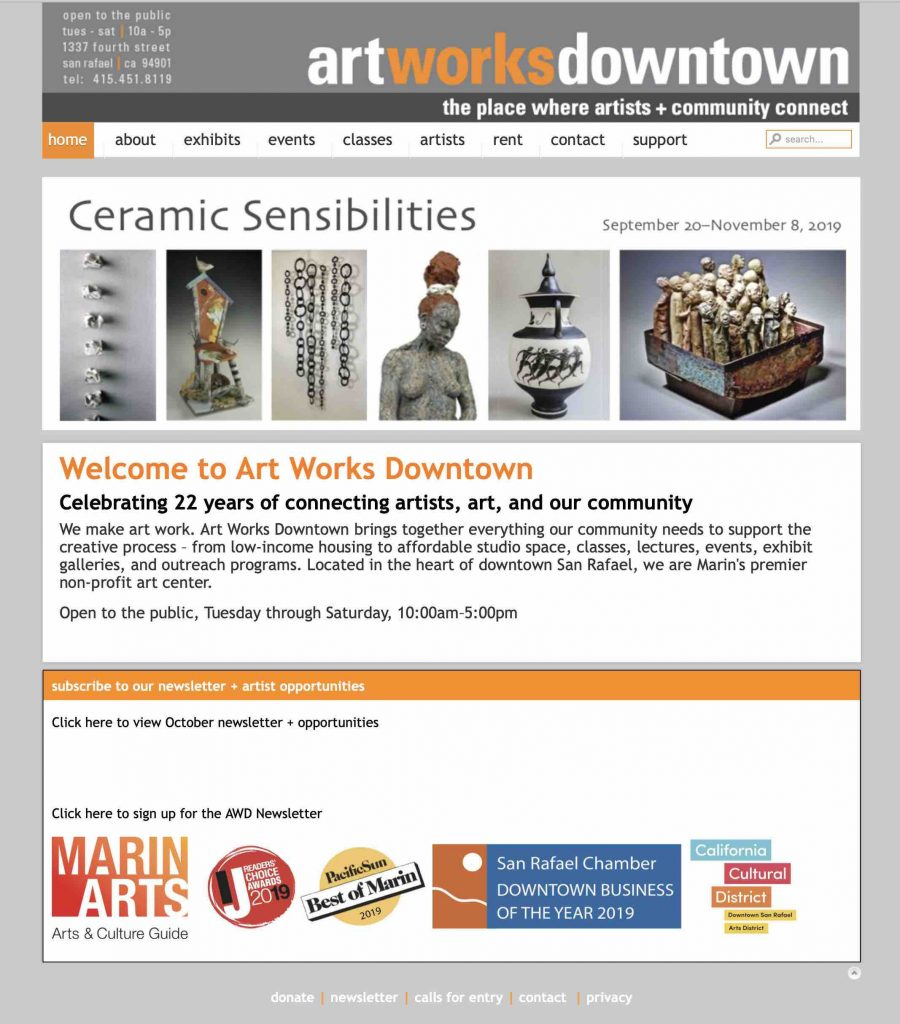 Art Works Downtown Joomla Wensite maintained by Susan Searway Art & Design