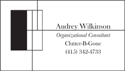 Audrey Organizational business card