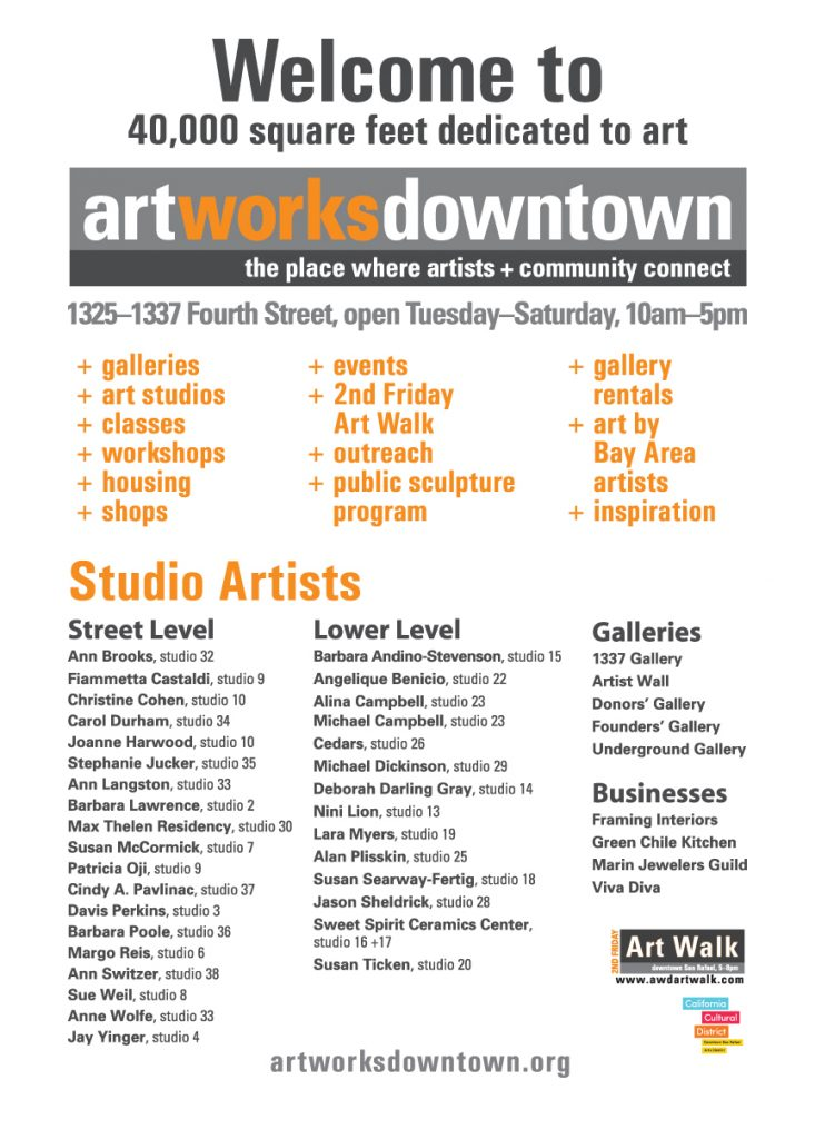 AWD Large Scale Poster Art Display highlighting events, services, and artists