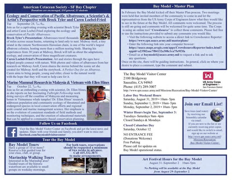 Bay Model Visitor Center Bi-Monthly Calendar