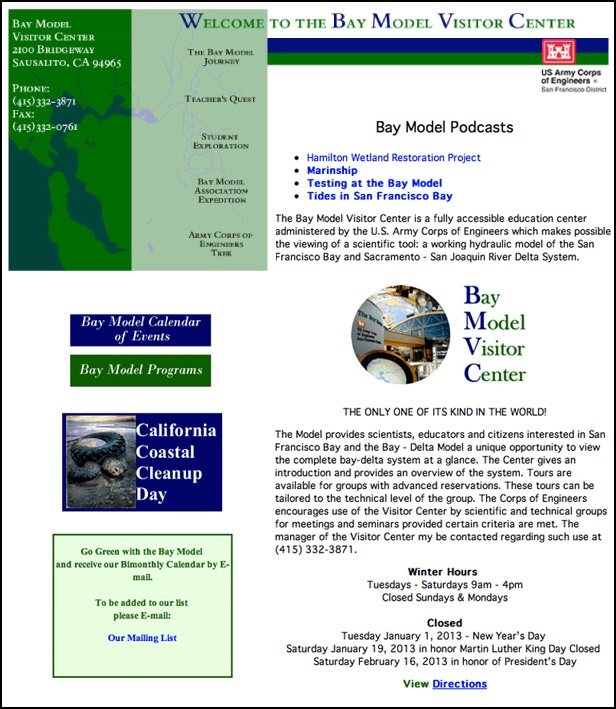 Bay Model Visitor Center Website designed by Susan Searway Art & Design