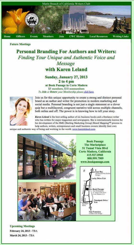 Marin Branch of California Writers Club | Website