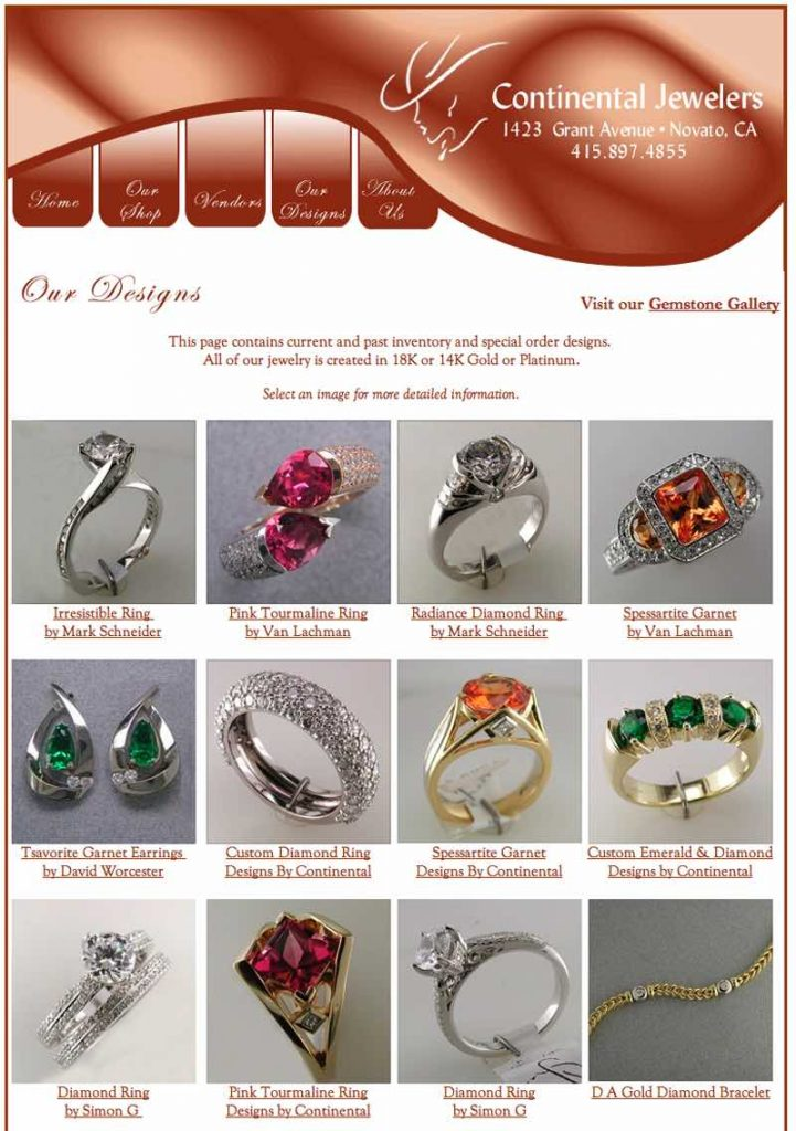 Continental Jewelers HTML Website designed by Susan Searway Art & Design