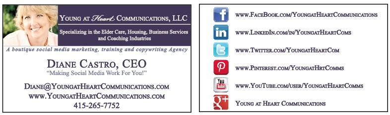 Diane Castro Young at Heart Communications Business Card Social Media Specialist
