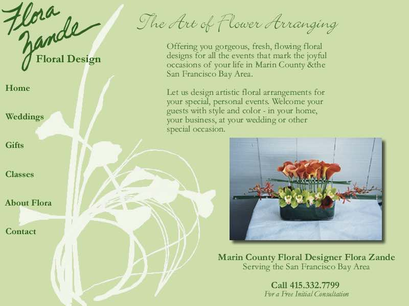 Back	Forward Flora Zande Website Layout Design by Susan Searway Art & Design