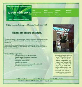 Green with Envy Plant Services Website designed by Susan Searway Art & Design