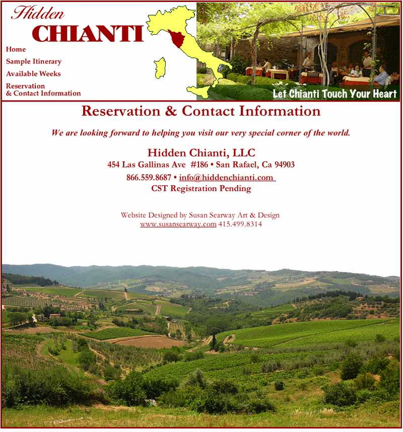 Hidden Chianti Website Designed by Susan Searway Art & Design