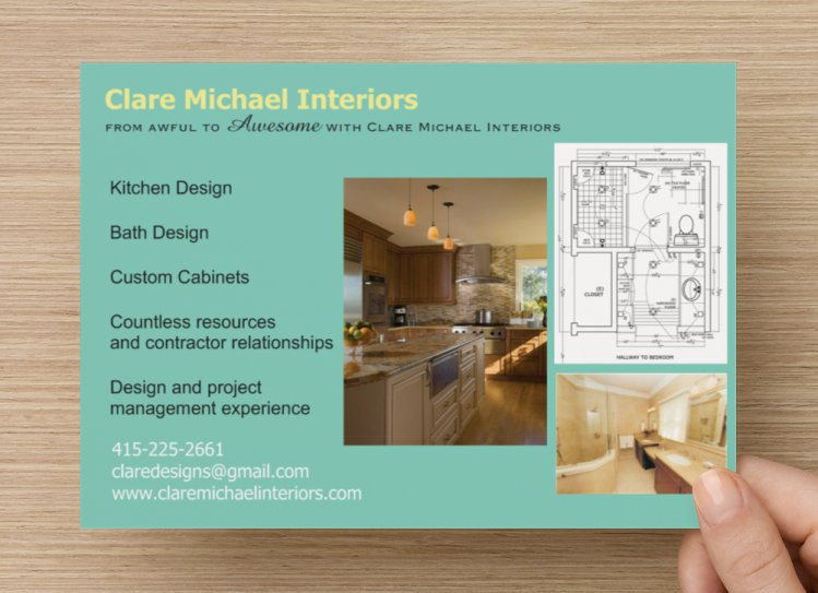 Clair Michael Interiors Design Postcard