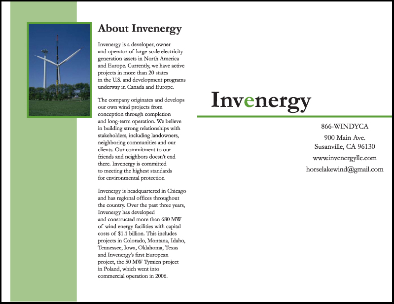 Invenergy multi paged printed Brochure