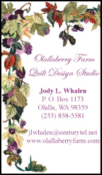 Jody Whalen Quilter Business Cards