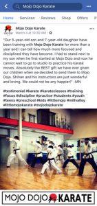 Mojo Dojo Karate Facebook Business Page