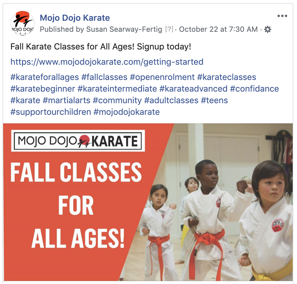 Mojo Dojo Karate Facebook Business Page Social Media Marketing