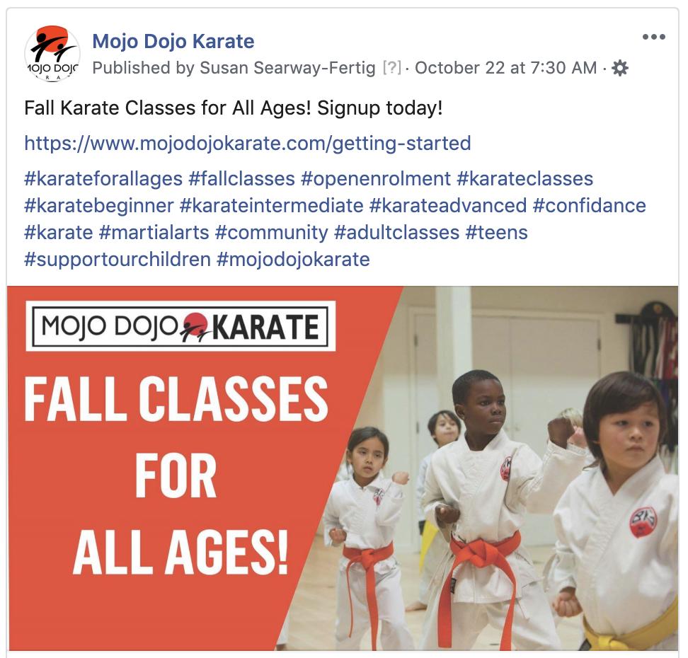 Mojo Dojo Karate Facebook Business Page Social Media Marketing