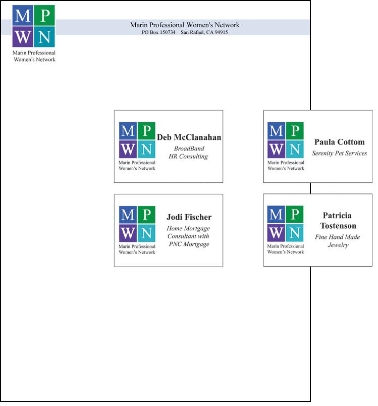 MPWN marketing materials letterhead name tags
