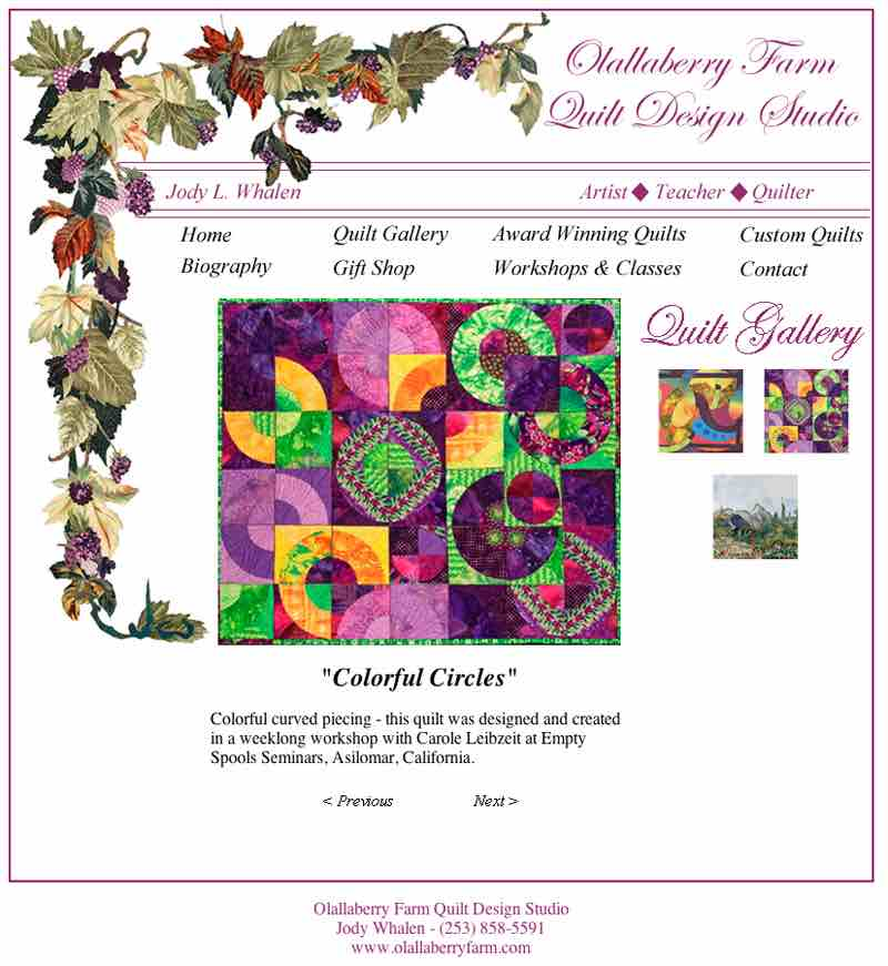Olallaberry Farm Quilt Design Studio - Website