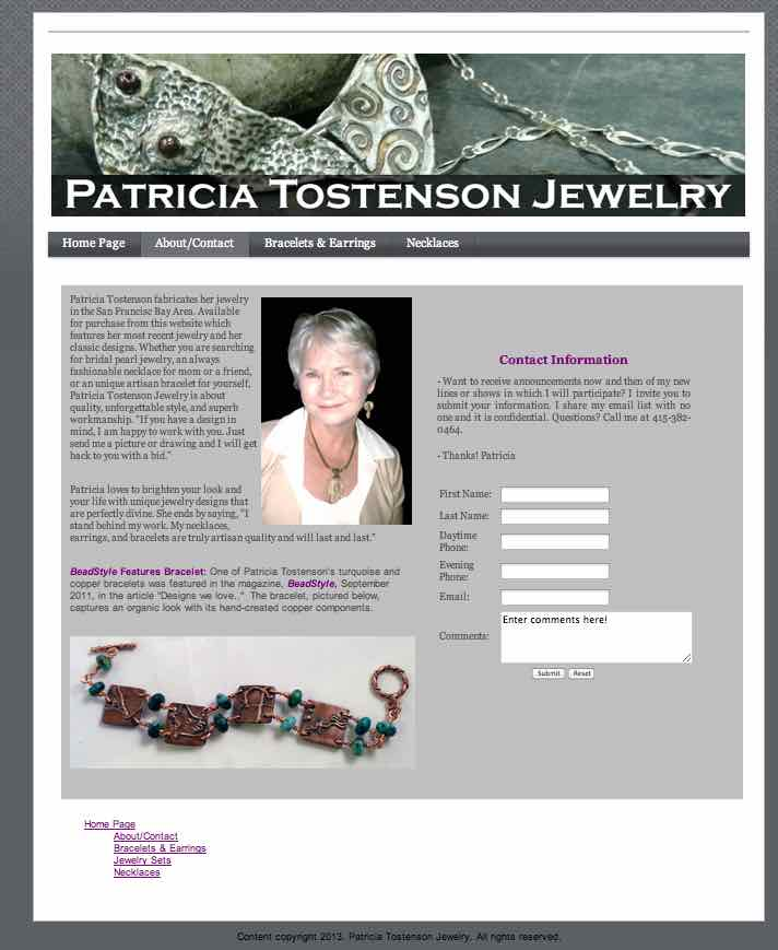 Patricia Tostenson Jewelry- Website designed by Susan Searway Art & Design