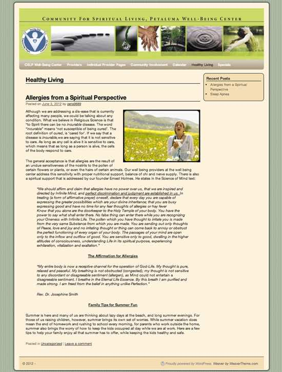 CSLP Petaluma Well-Being Center WordPress Website designed by Susan Searway Art & Design