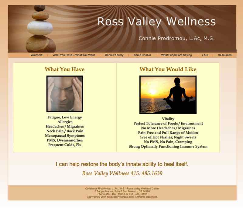 Ross Valley Wellness Center WordPress Website designed by Susan Searway Art & Design