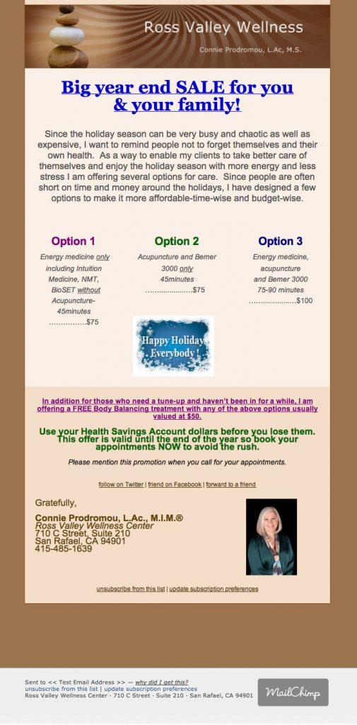 Ross Valley Wellness mailchimp emailer