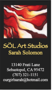 Sol Art Studio Sarah Soloman business card