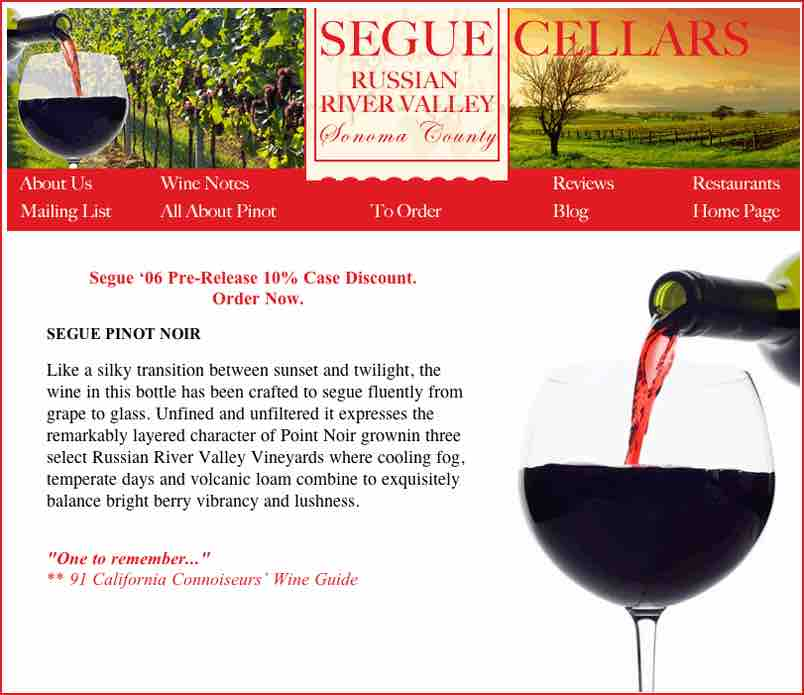 Segue Cellars Website Layout Design by Susan Searway Art & Design